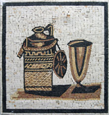GEO163 goldish kettle and cup kitchen mosaic
