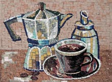 GEO1154 kettle, sugar dispenser and coffee cup marble mosaic