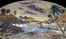 CR219 Sand mountains scene with palm trees mosaic marble