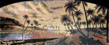 CR220 Beautiful palm trees on river scene mosaic marble
