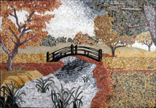 CR225 Autumn scene of river bridge mosaic marble