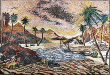 CR226 Sand mountains scene with palm trees mosaic marble