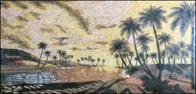 CR227 Palm river trees scene marble mosaic