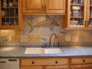 Mosaic Dolphin Playing Over the Sink