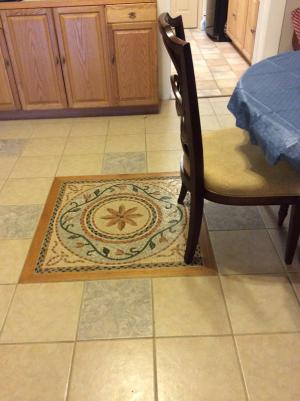 Kitchen Floor Grout Mosaic Square Decor