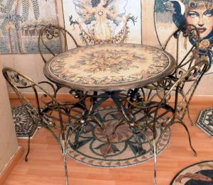 Floral Mosaic Round Tabletop