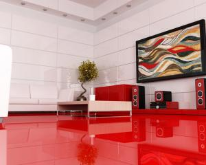 Framed Mosaic Wave Art for a Modern Red Interior